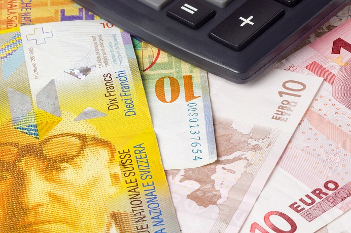 Forex - Euro and Swiss currency pair with calculator